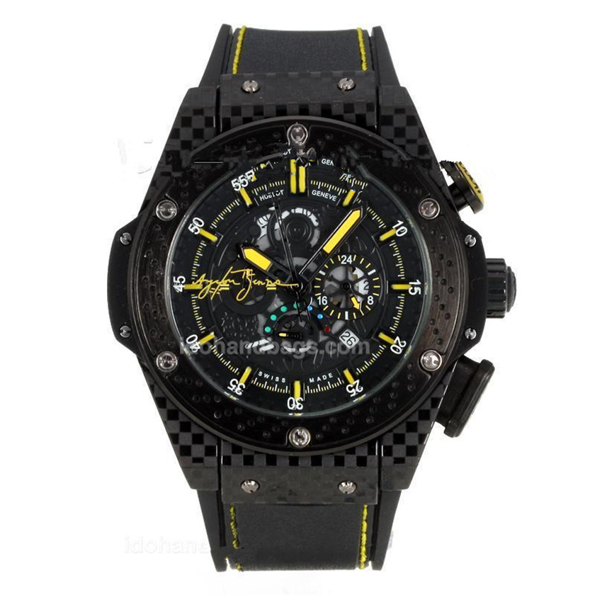 7543a92220b The entire design of the Replica Hublot King Power Ayrton Senna is a  reminiscence of the Formula 1 and its most distinctive aesthetic mark is  Brazil s ...